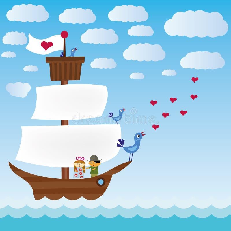 Nave con tre uccelli di canto in mare illustrazione di stock
