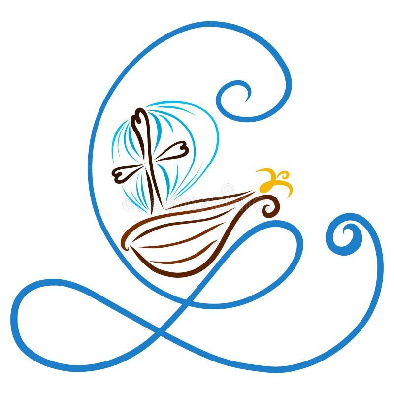 Nave con una cruz que flota en las ondas, la onda bajo la forma de ilustración del vector