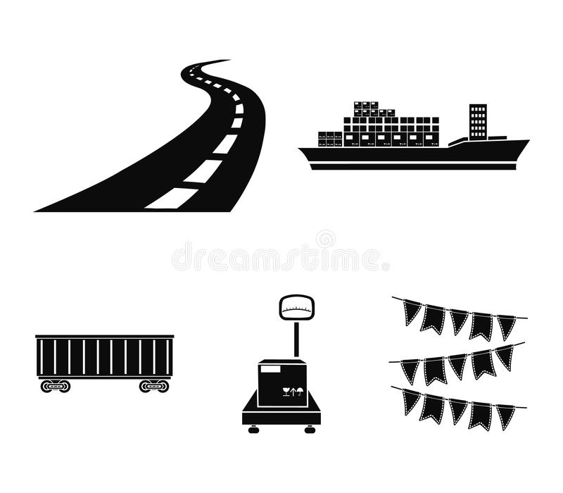 Nave da carico, automobile ferroviaria, scale con la scatola, strada Logistico, metta le icone della raccolta nelle azione nere d illustrazione di stock