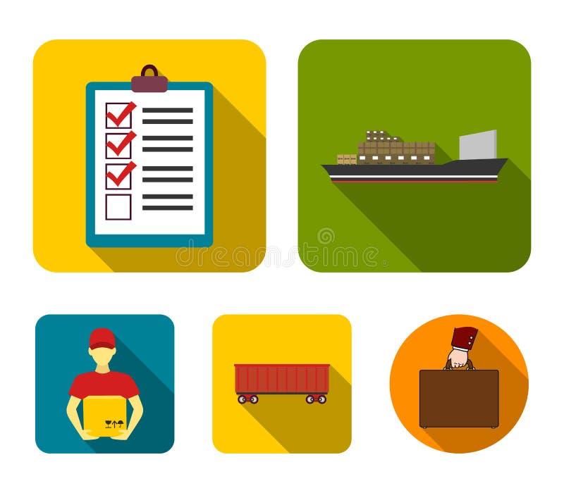 Nave da carico, documenti, automobile ferroviaria, corriere con la scatola Le icone logistiche della raccolta dell'insieme nello  illustrazione vettoriale