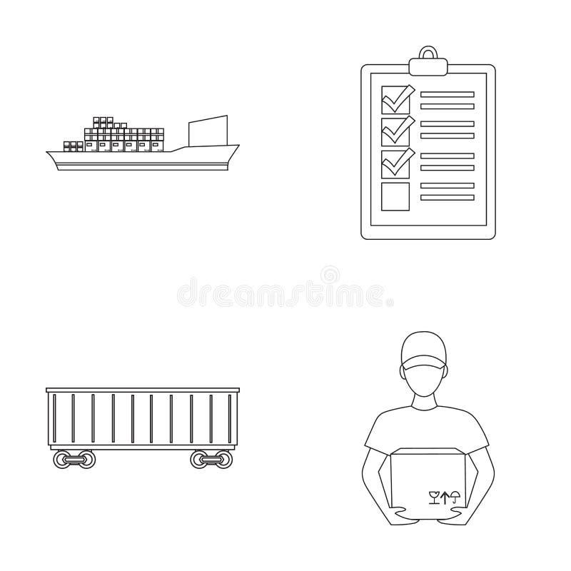 Nave da carico, documenti, automobile ferroviaria, corriere con la scatola Le icone logistiche della raccolta dell'insieme nello  illustrazione di stock