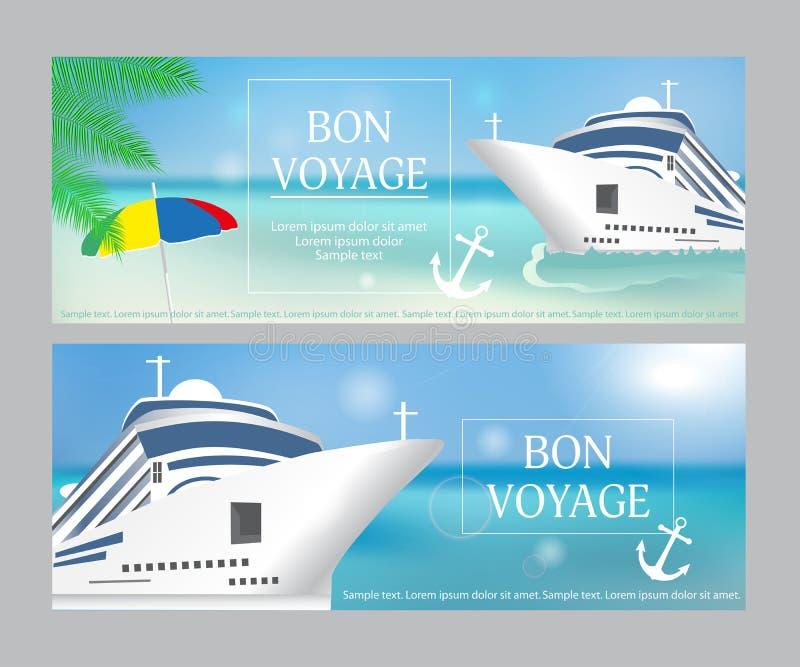 """Nave da crociera con il titolo di """"Bon VoyageÂ"""" Metta il manifesto o l'insegna"""