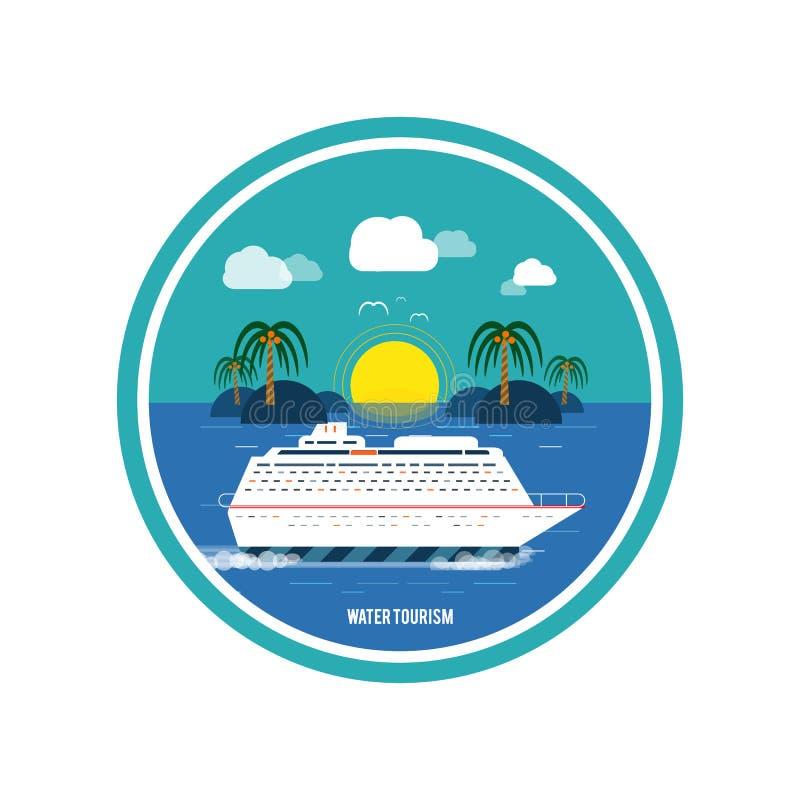Nave da crociera ed acqua blu della radura Turismo dell'acqua illustrazione vettoriale