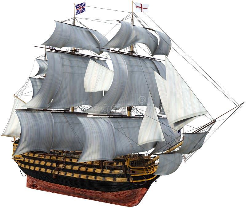 Nave da guerra britannica, vele alte, isolate illustrazione di stock