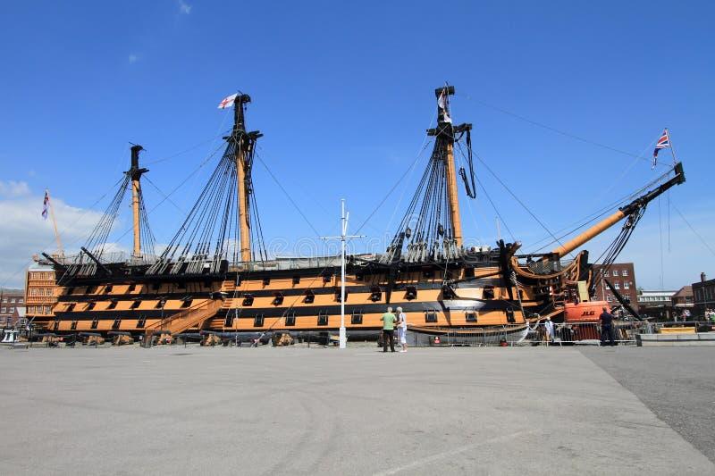 Nave da guerra di vittoria di HMS a Portsmouth, Regno Unito fotografia stock