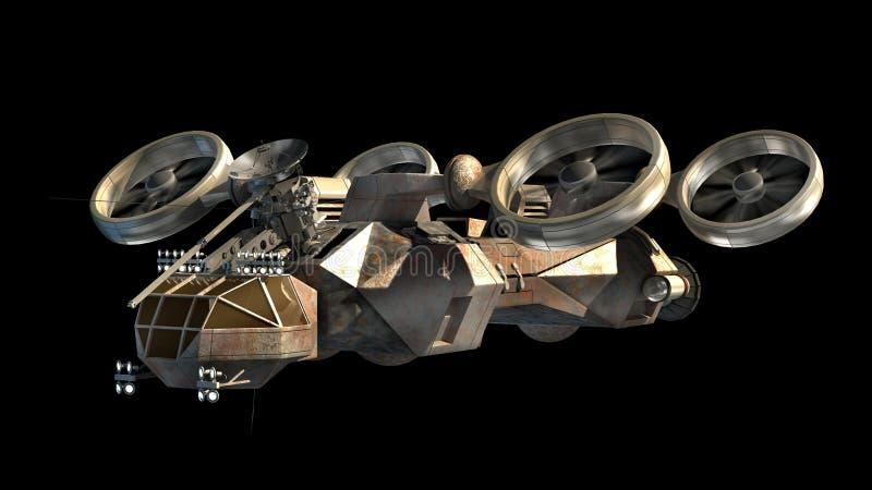Nave da guerra militare futuristica con le eliche del tipo di elicottero illustrazione di stock