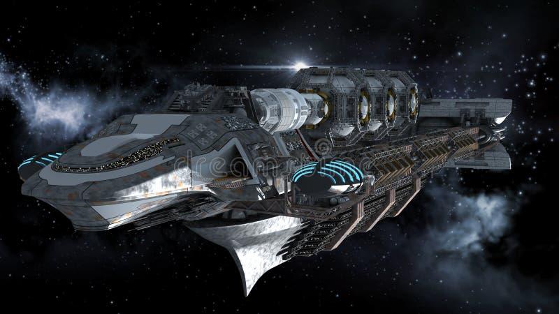 Nave da guerra straniera nel viaggio nello spazio profondo royalty illustrazione gratis