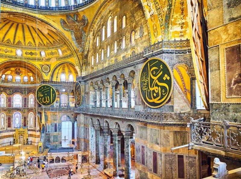 A nave da mesquita de Hagia Sophia Istambul, Turquia fotos de stock