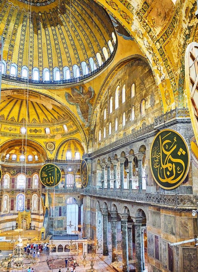 A nave da mesquita de Hagia Sophia Istambul, Turquia fotografia de stock