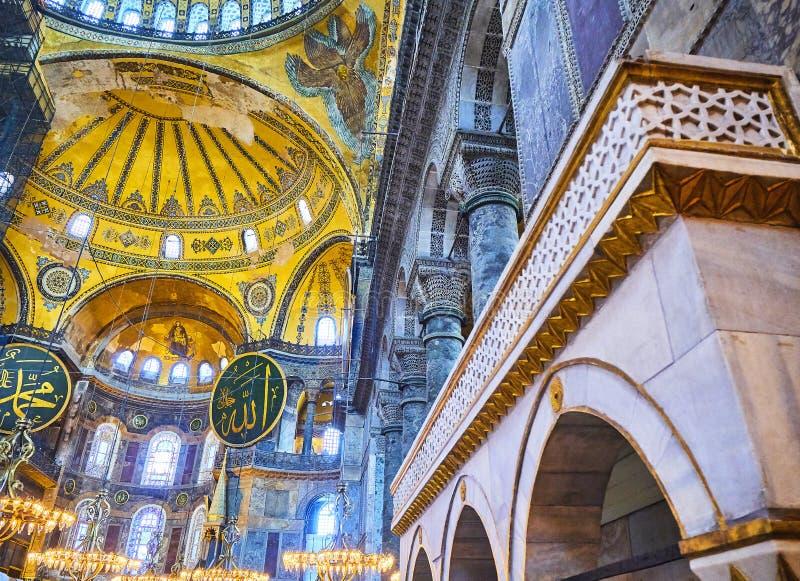 A nave da mesquita de Hagia Sophia Istambul, Turquia fotos de stock royalty free