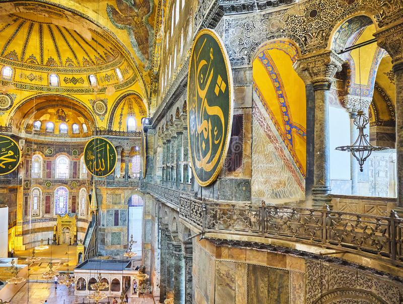 A nave da mesquita de Hagia Sophia Istambul, Turquia imagens de stock