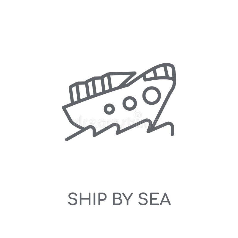 nave dall'icona lineare del mare Nave moderna del profilo dal concetto di logo del mare illustrazione vettoriale
