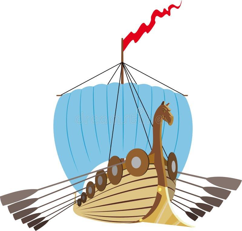 Nave de Drakkar Vikingos stock de ilustración