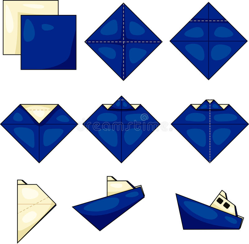 Nave de la papiroflexia ilustración del vector