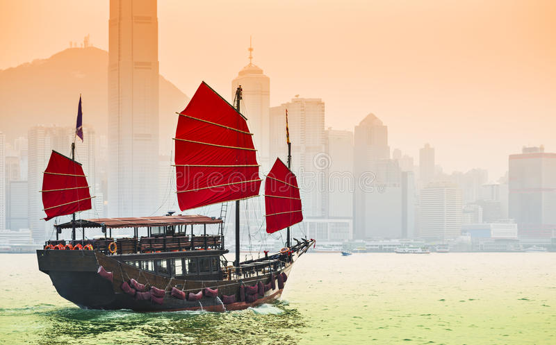 Nave de los desperdicios en Hong Kong fotografía de archivo