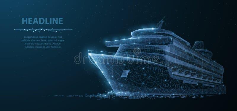 Nave Nave de lujo del trazador de líneas del ruise del vector del extracto en fondo azul marino del cielo nocturno con los puntos stock de ilustración