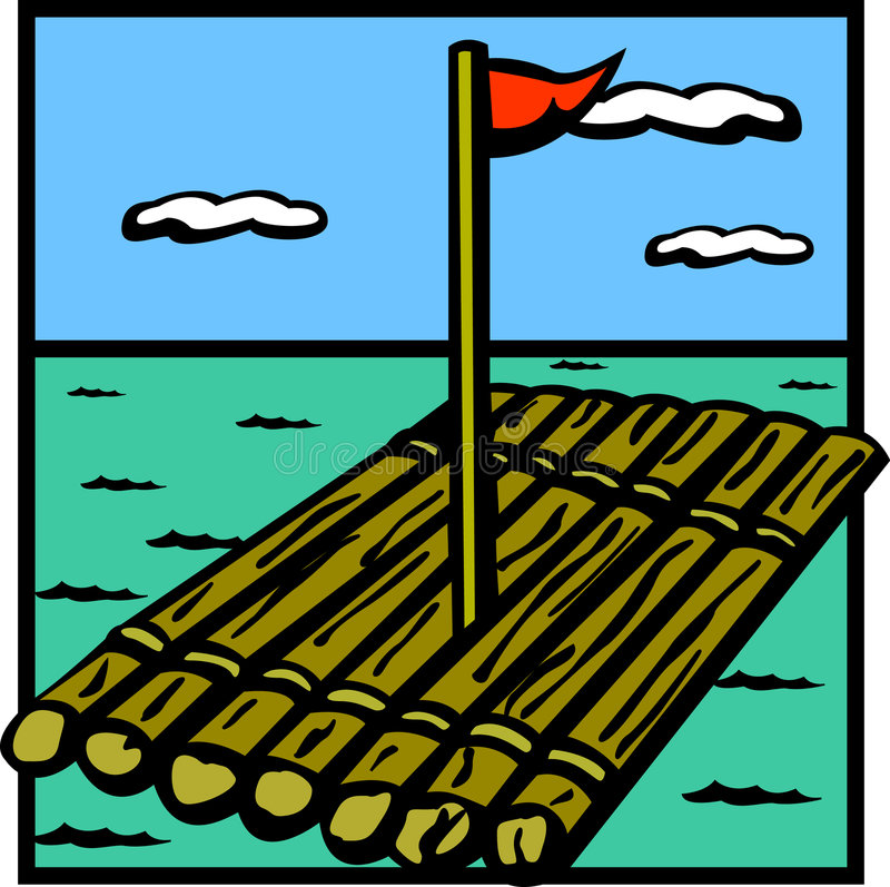 Nave de madera de la balsa stock de ilustración