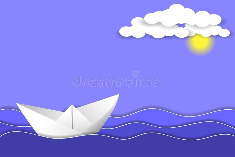 Nave de papel en olas oceánicas Capas y formas de papel como paisaje del mar libre illustration