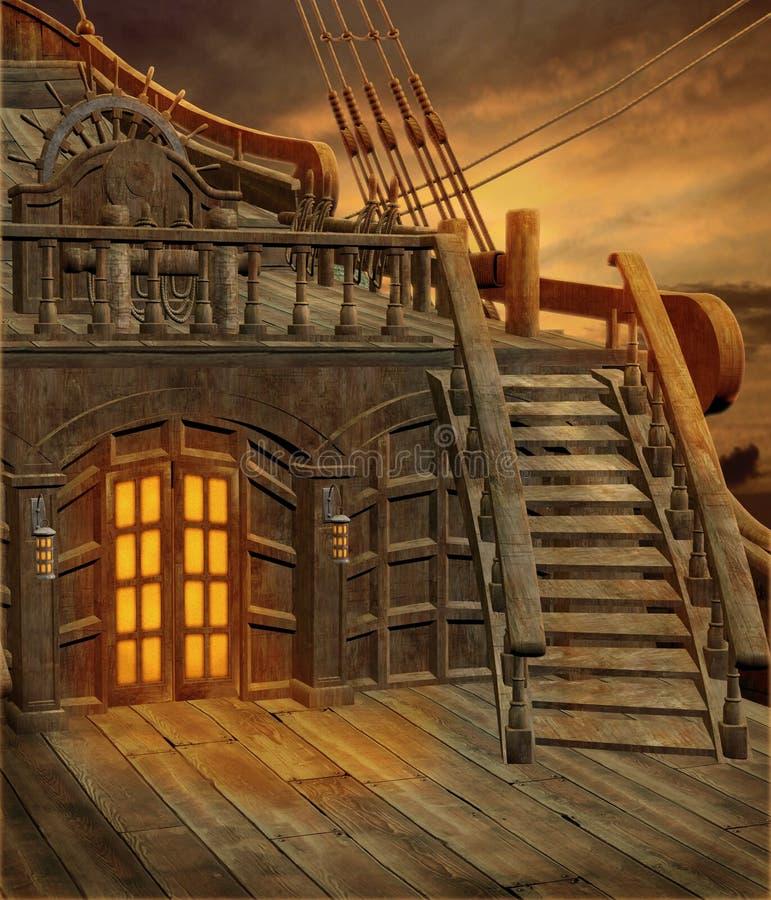 Nave de pirata 1 stock de ilustración