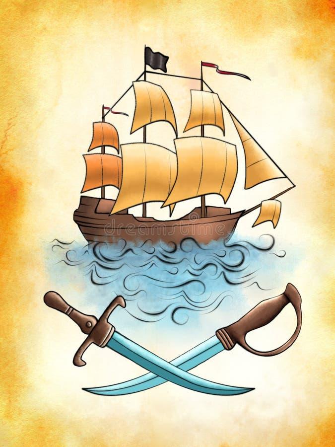 Nave de pirata ilustración del vector