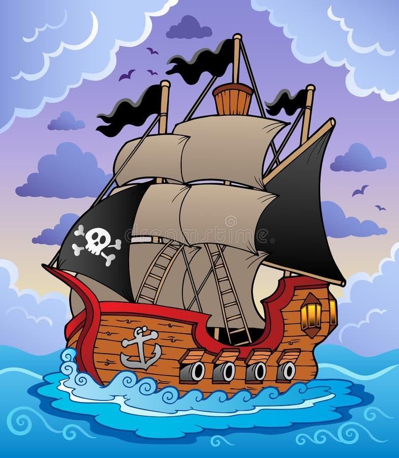 Nave de pirata en el mar tempestuoso stock de ilustración
