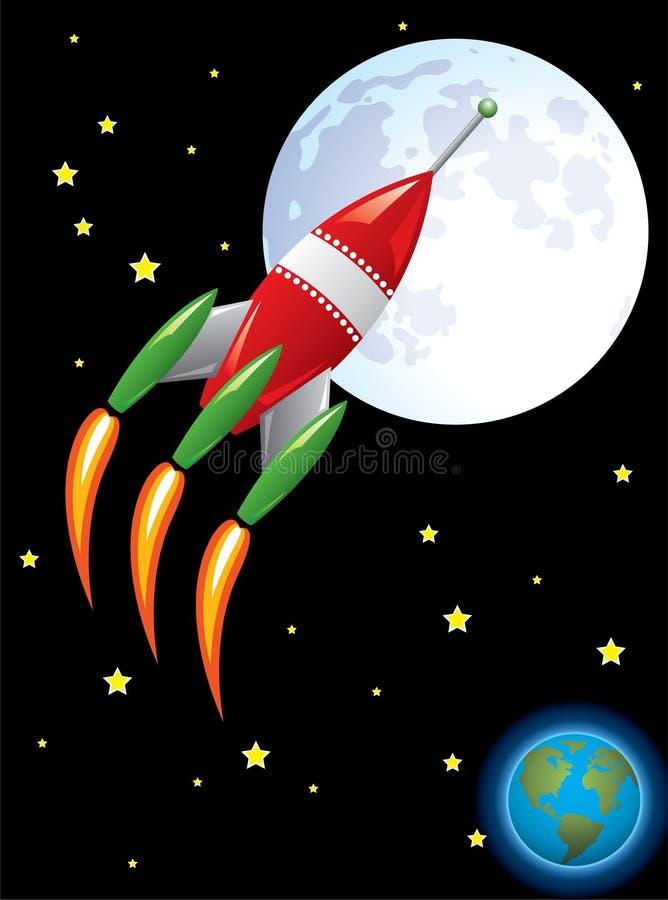 Nave de Rocket en espacio stock de ilustración
