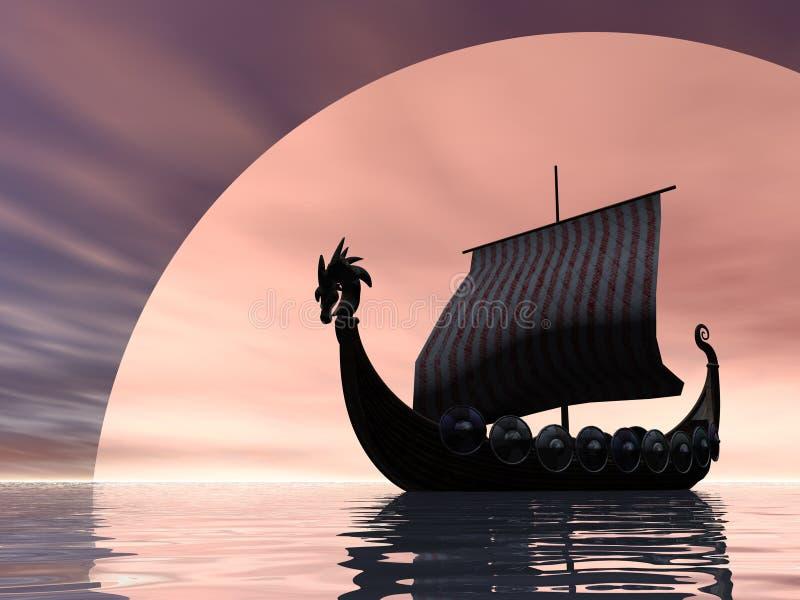 Nave de Vikingo en el mar libre illustration