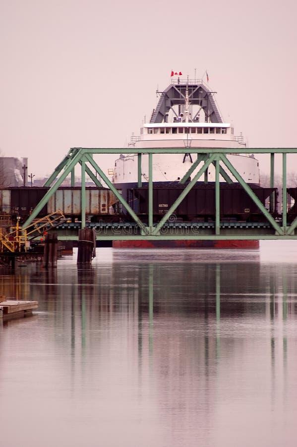 Nave del carbón en el puente del RR foto de archivo libre de regalías