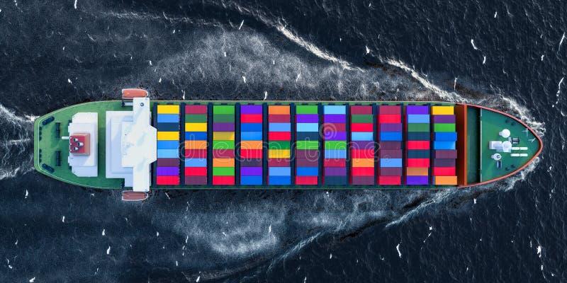 Nave del carguero con los contenedores para mercancías que navegan en el océano, visión superior libre illustration
