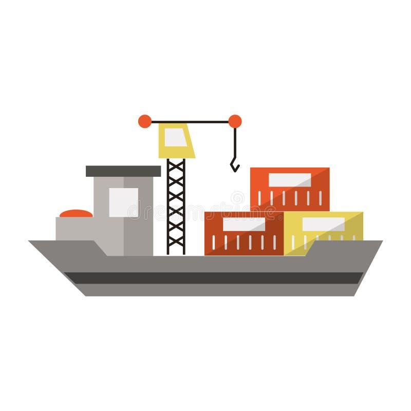 Nave del carguero con los envases y la grúa stock de ilustración