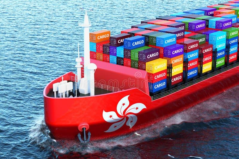 Nave del carguero de Hong Kong con los contenedores para mercancías que navegan en el océano, ilustración del vector