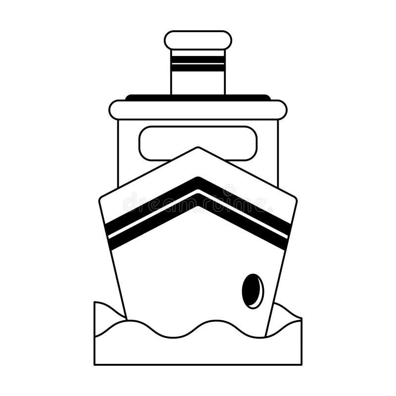 Nave del carguero en el frontview del mar blanco y negro ilustración del vector