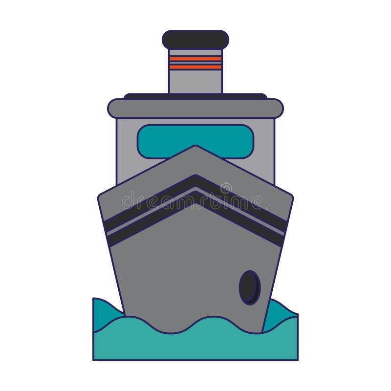 Nave del carguero en frontview del mar ilustración del vector