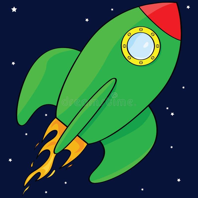 Nave del cohete de la historieta stock de ilustración