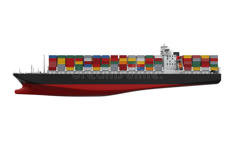 Nave del contenedor para mercancías aislada libre illustration