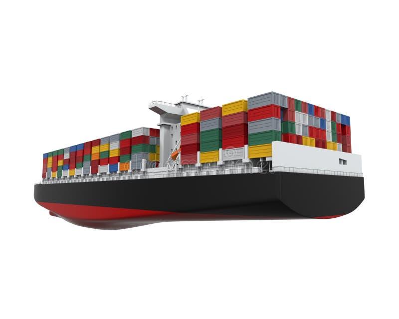 Nave del contenedor para mercancías aislada ilustración del vector