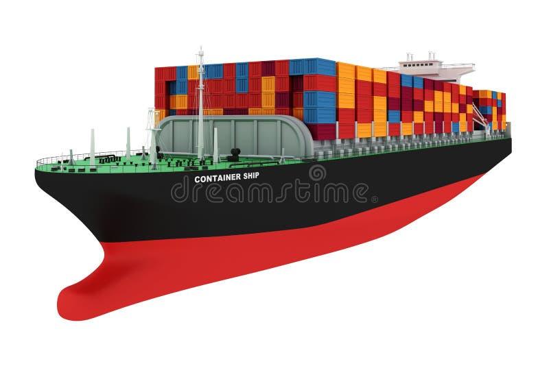 nave del contenedor para mercancías 3d ilustración del vector