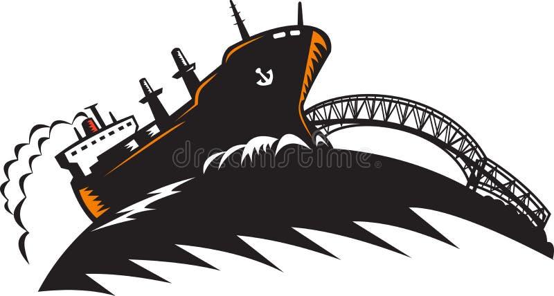 Nave del contenedor para mercancías del carguero con el puente stock de ilustración
