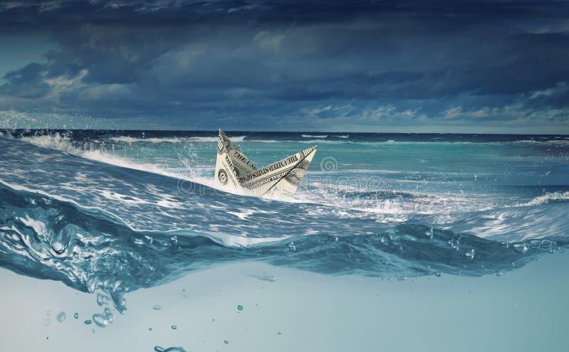 Nave del dólar en agua foto de archivo
