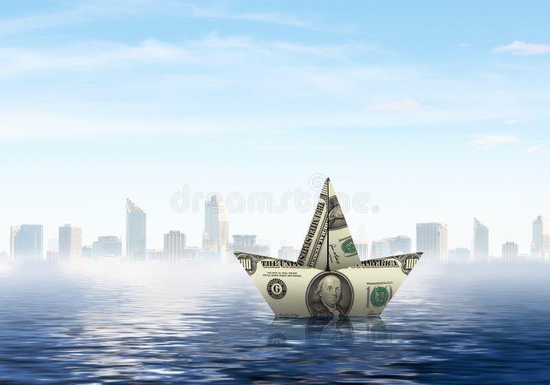 Nave del dólar en agua foto de archivo libre de regalías