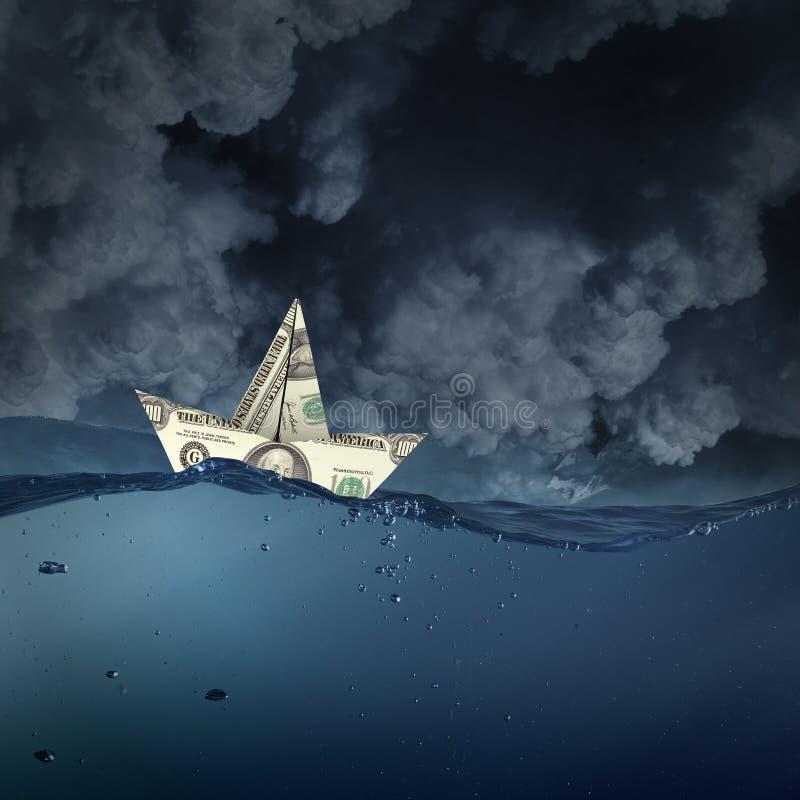 Nave del dólar en agua fotografía de archivo