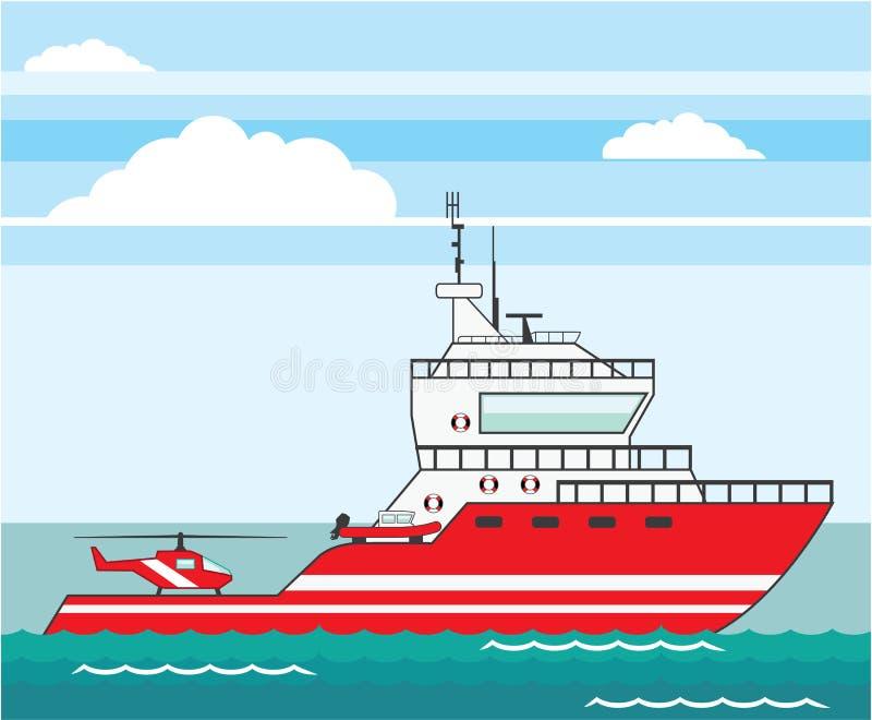 Nave del guardacostas con vector del helicóptero libre illustration