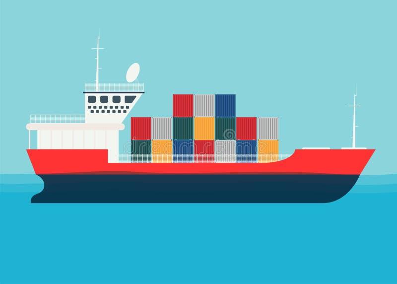 Nave del mar del cargo del transporte con los envases Transporte del mar logístico stock de ilustración