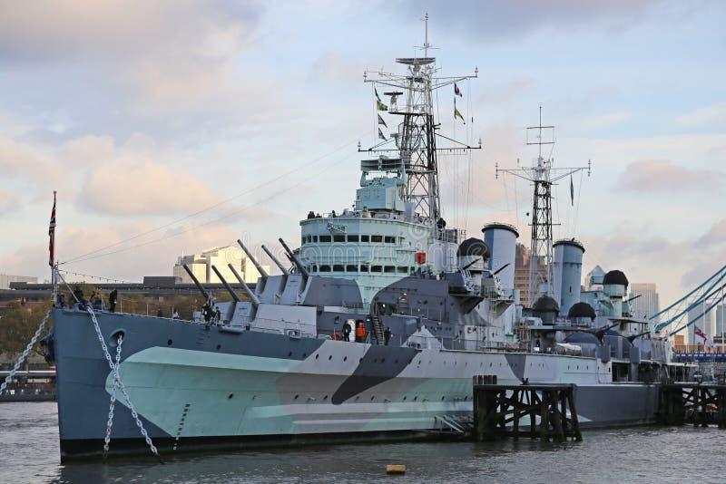 Nave del museo del HMS Belfast fotografía de archivo