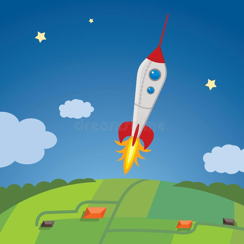 Nave del razzo del fumetto nello spazio cosmico andante del cielo illustrazione vettoriale