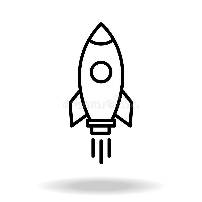 Nave del razzo del profilo con fuoco Isolato su bianco Linea piana icona Illustrazione di vettore con il razzo di volo Viaggio ne illustrazione di stock