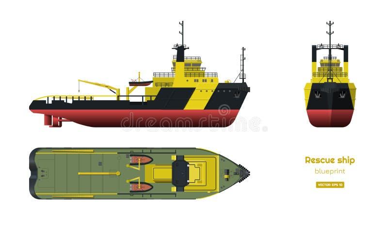 Nave del rescate Vista delantera del top, lateral y Modelo de la industria 3d en estilo realista Dibujo aislado del barco libre illustration