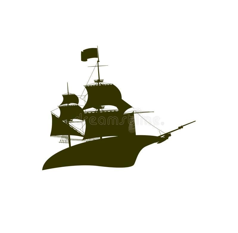 Nave dell'incrociatore nel logo del mare royalty illustrazione gratis