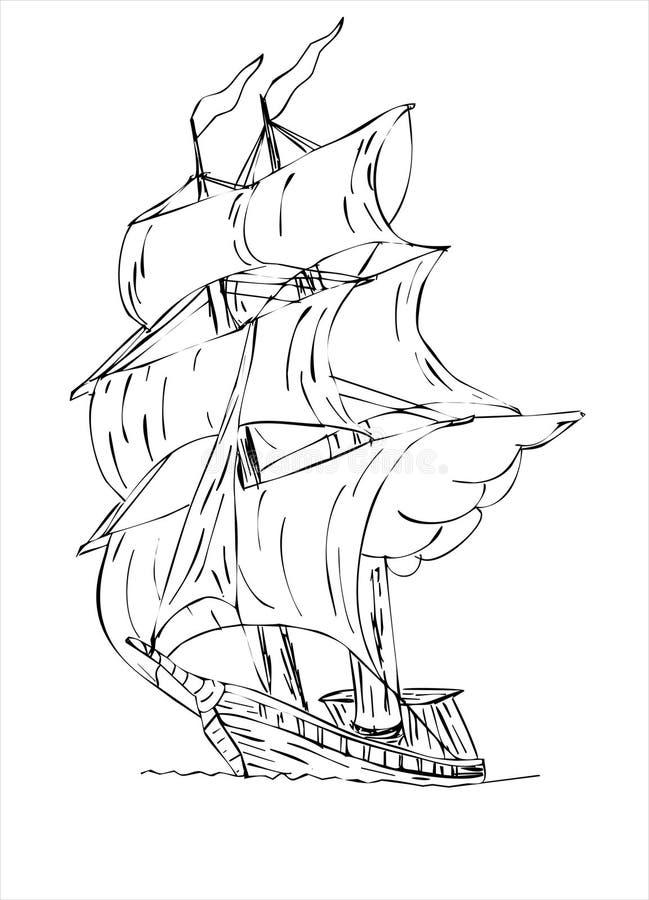 Nave di navigazione alberata alta con le vele illustrazione di stock