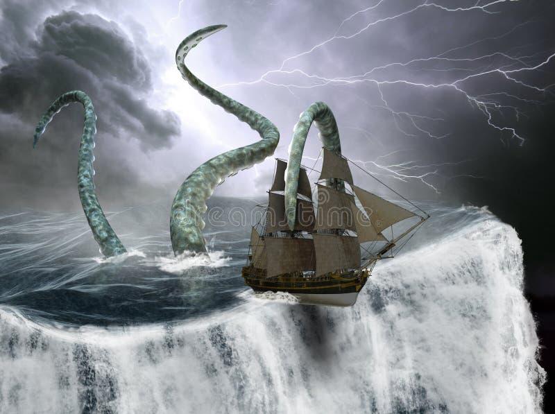 Nave di navigazione alta, bordo del mondo, mostro marino fotografia stock